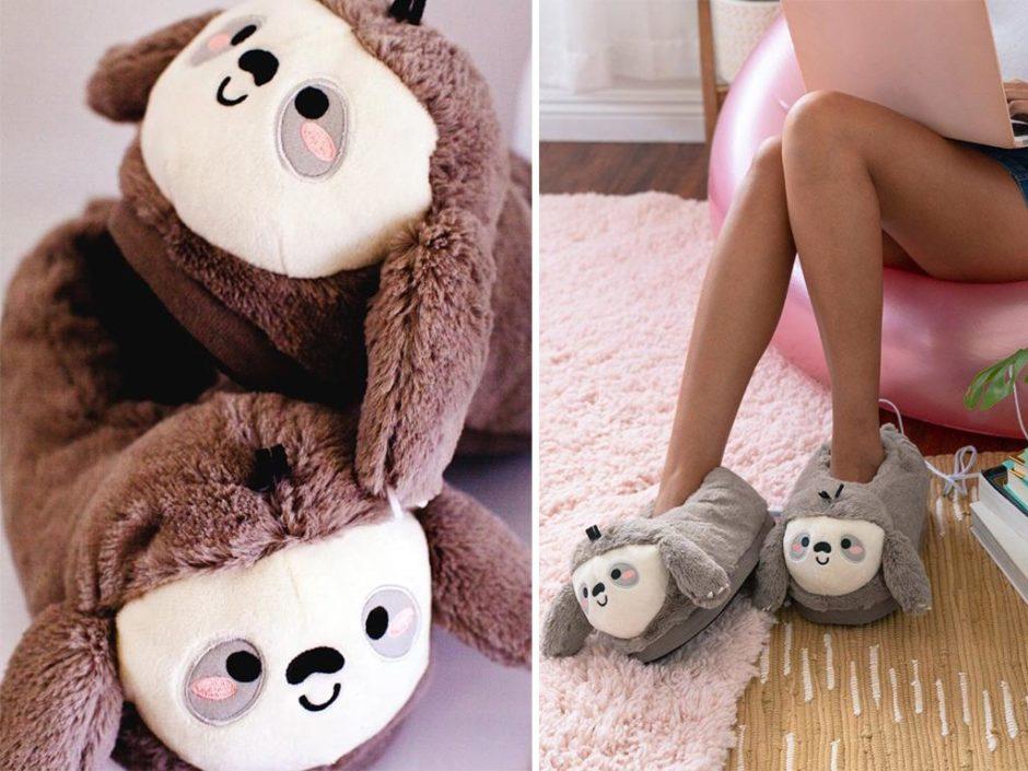 smoko heated sloth slippers