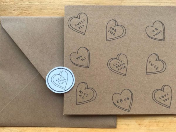Limone Illustrations can be found on Etsy creating simple yet oh-so-effective eco-friendly Valentine's Day cards.