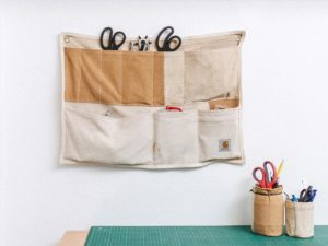 These Wall Organisers Have Been Upcycled From Former Carhartt Dungarees and Boiler Suits