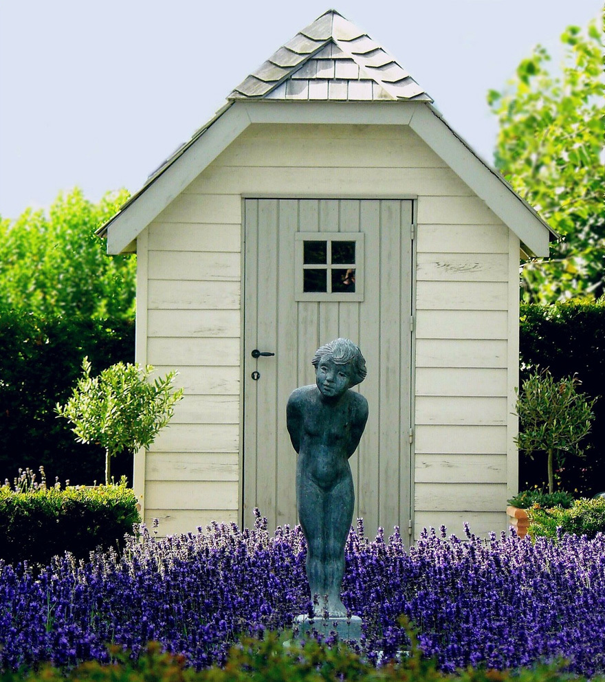 A summerhouse surrounded by fragrant lavender
