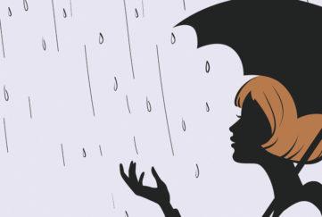 Girl Silhouette with Umbrella in rain
