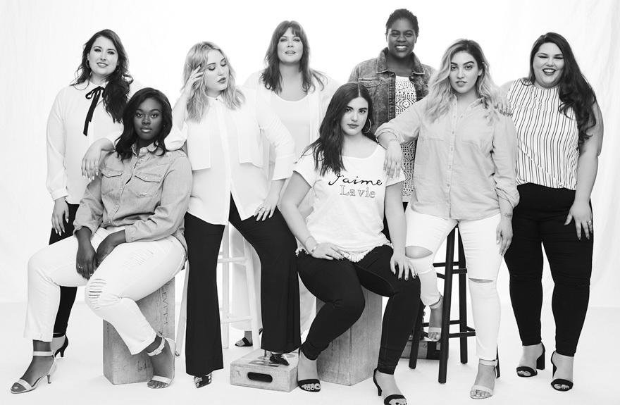 A group of women modelling for Evans