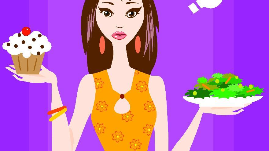 girl with cake and salad