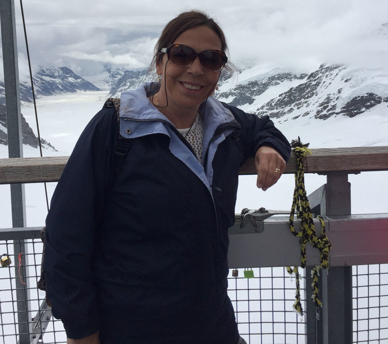 Karen at the top of Jungfrau where there is snow all year round