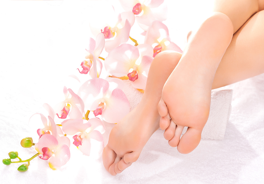 A pair of soft, healthy feet and orchid flowers