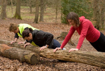 Press ups on a fallen log
