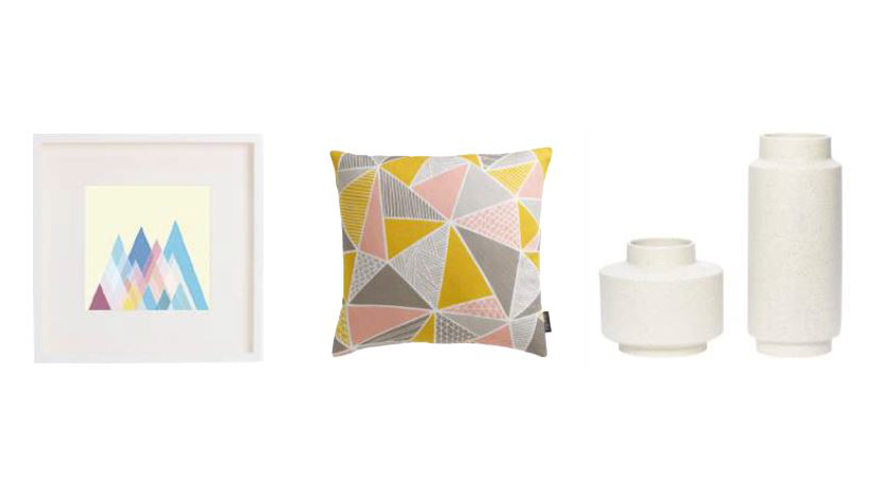 Scandinavia inspired art, cushion and vases