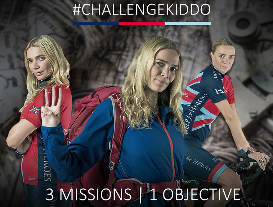 3 action images of Jodie Kidd in sports gear and slogan: Challenge Kiddo. 3 Missions, 1 Objective