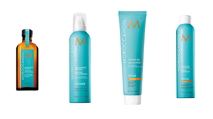 Moroccanoil Treatment, Moroccanoil Volumizing Mousse, Moroccanoil Styling Gel Strong, Moroccanoil Luminous Hairspray Strong