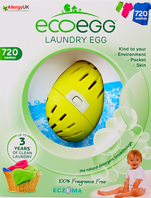 A laundry egg in its packaging