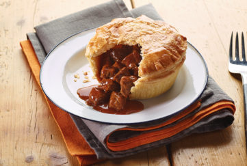 Pukka pie with steak filling
