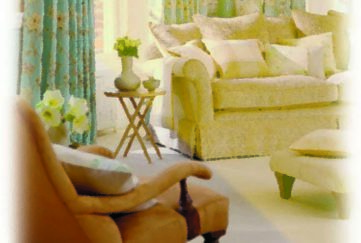 Interior of three seater sofa and chair in living room