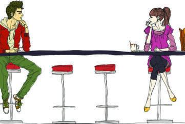 CCouple sitting at bar counter