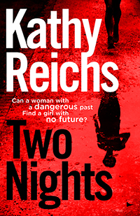 Two Nights book cover showing woman's shadow on red background