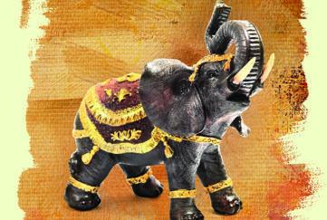 elephant ornament with gold braid