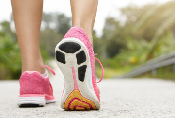 A close up of feet walking outdoors. Pic: Shutterstock