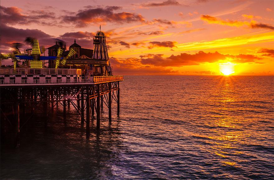 Stunning sunset views at Brighton Pier.