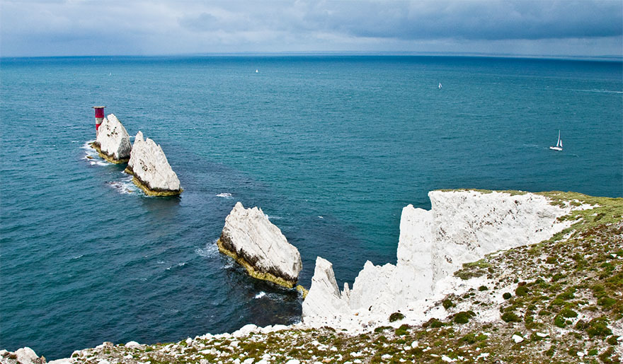 White cliffs provide a stunning viewpoint at the Isle of Wight.