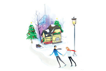Young couple walking in snow, house and children behind them