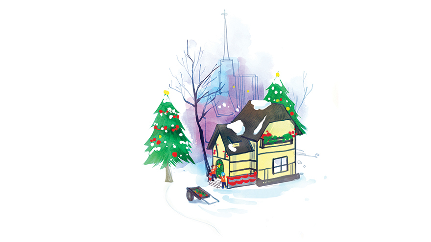 children at door of snow covered house, christmas trees