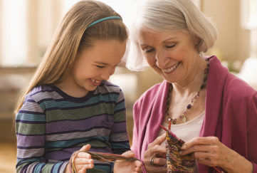 Grandmother with granddaughter getting ready to knit Pic: Istockphoto
