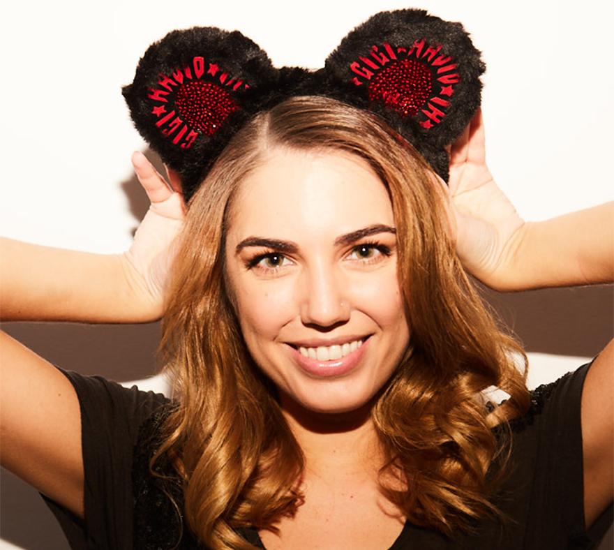 Amber Le Bon models ears designed by Gigi Hadid x Tommy Hilfiger