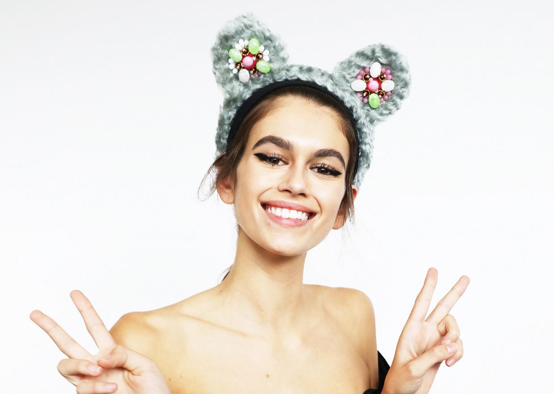 Prada's take on Pudsey's ears is modelled by Kaia Gerber