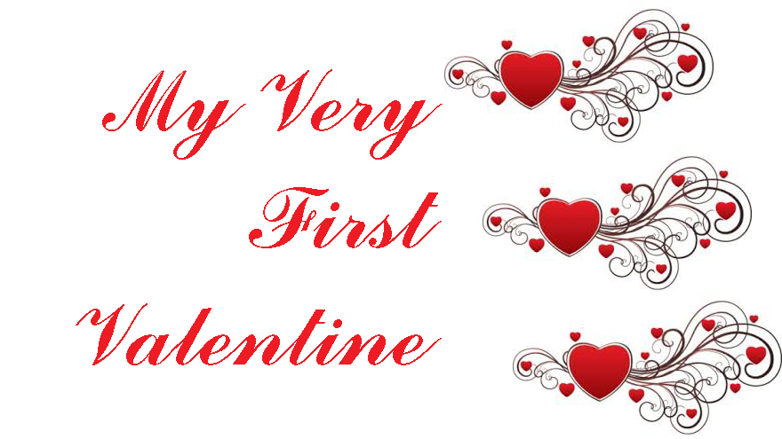 My Very First Valentine title and hearts