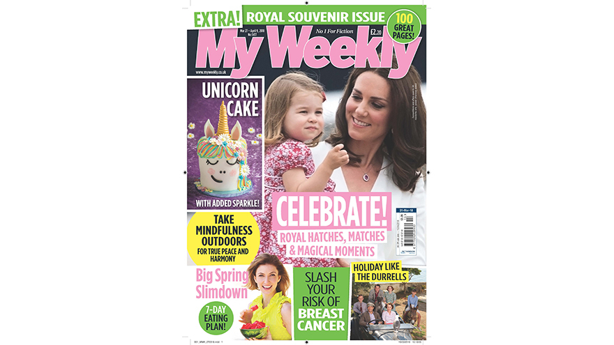 My Weekly cover showing the duschess of Cambridge and Princess Charlotte