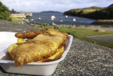"""""""Crispy, battered fish with chips and ketchup. Photographed at Tarbert on the Isle of Harris in the Outer Hebrides, Scotland.Other photos taken in the Outer Hebrides:"""""""
