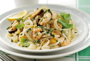 Seafood linguini on a plate