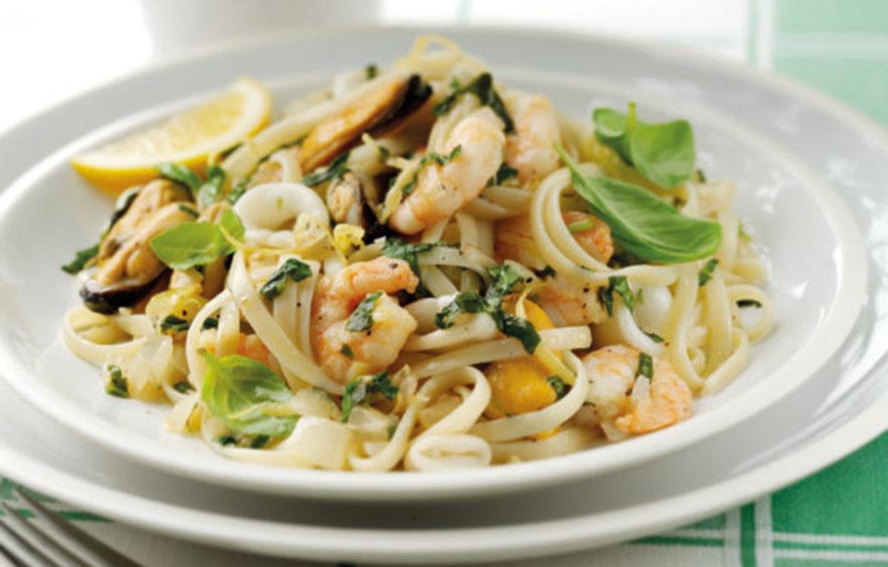 Seafood linguini on a plate