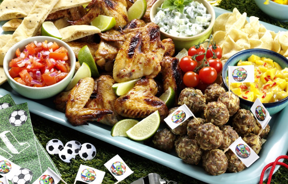 Football buffet with rose wine