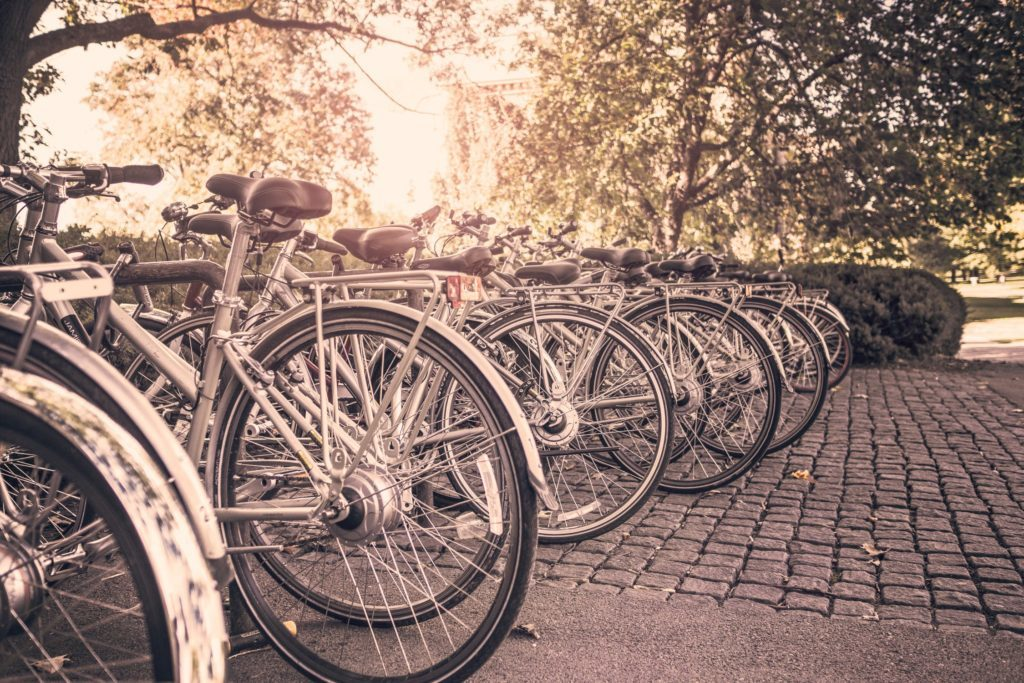 Row of bicycles in town