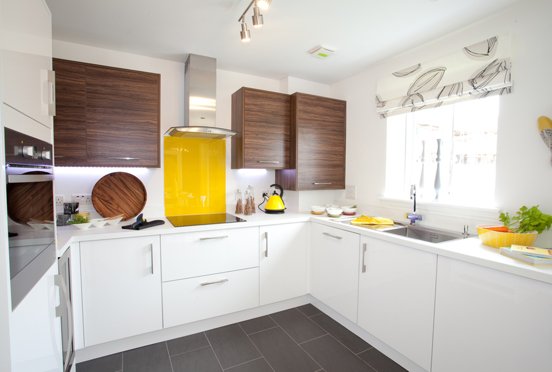 Kitchen with yellow features