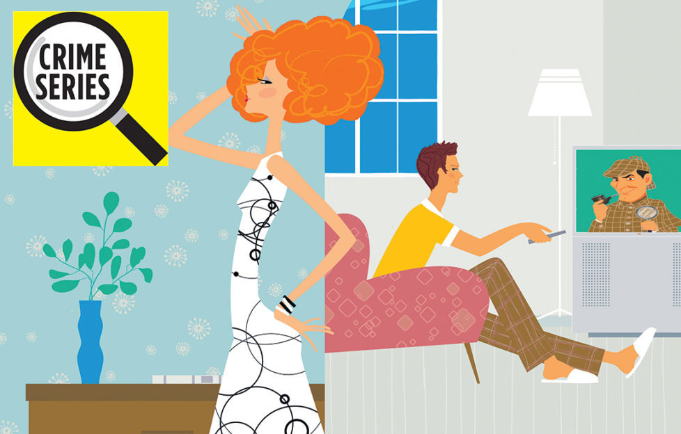 Illustration of lady in house with husband in background watching Serlock Holmes on TV Pic: Rex/Shutterstock