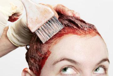 woman having hair coloured