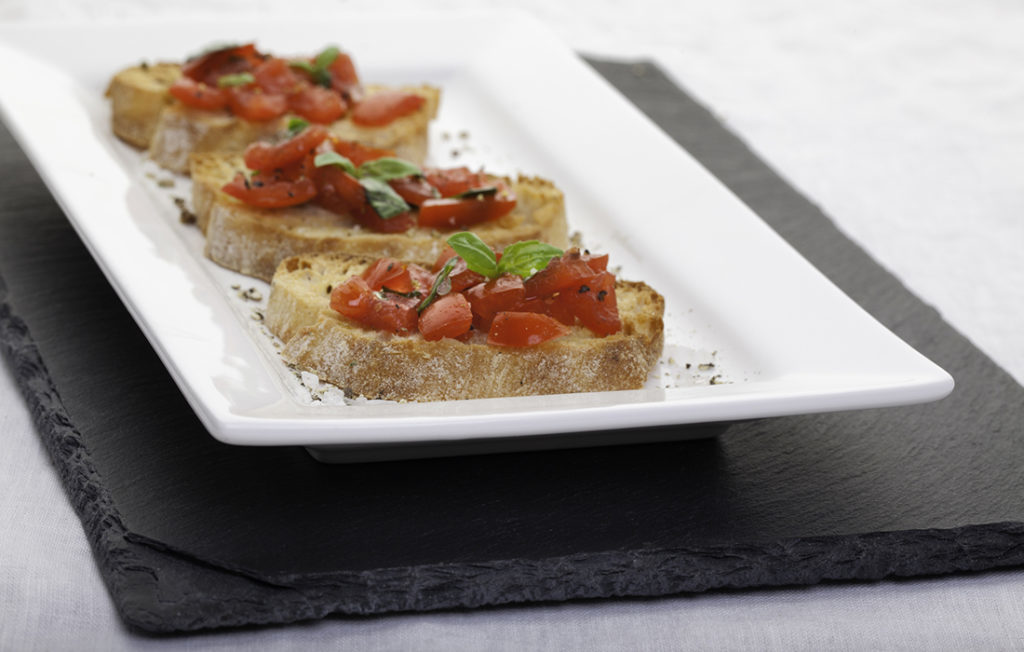 Food on a slate placemat Pic: Istockphoto