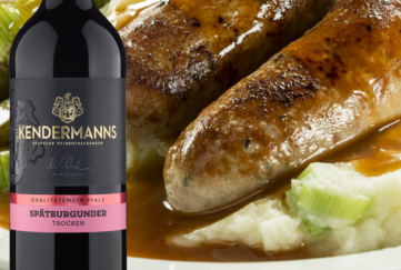 Kenderman's red wine with delicious sausage