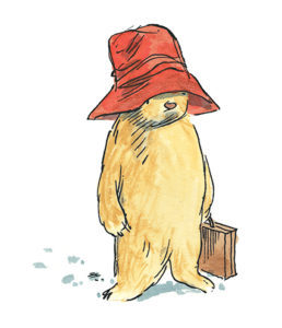 Paddington bear with hat and suitcase