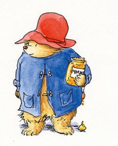 Paddington Bear in duffel coat and hat