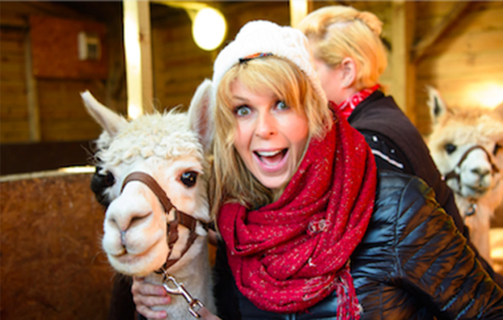 Kate Garraway with a lama