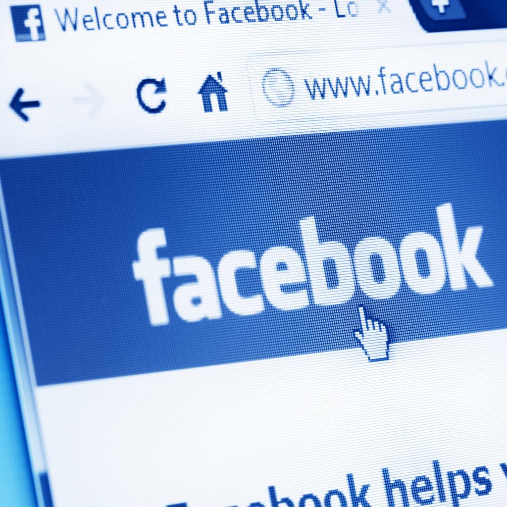 Facebook login screen