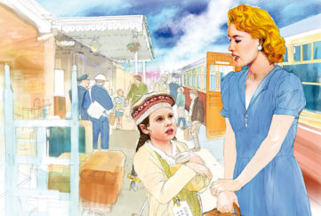 Girl at station with pretty lady in blue dress Illustration: Andre Leonard
