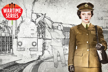 Lady in wartime uniform at railway station Illustration: Mandy Dixon