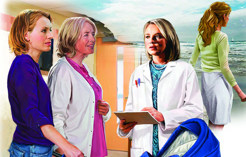 Two grans with a doctor, and one looking out to sea Illustration: Andre Leonard