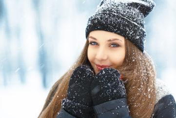 model in winter scene