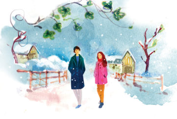 A couple walking in the snow Illustration: Celine Wong, www.artoflihua.com