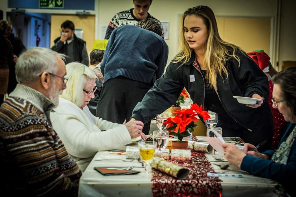 Volunteer serving lunch on Banbury on Xmas Day