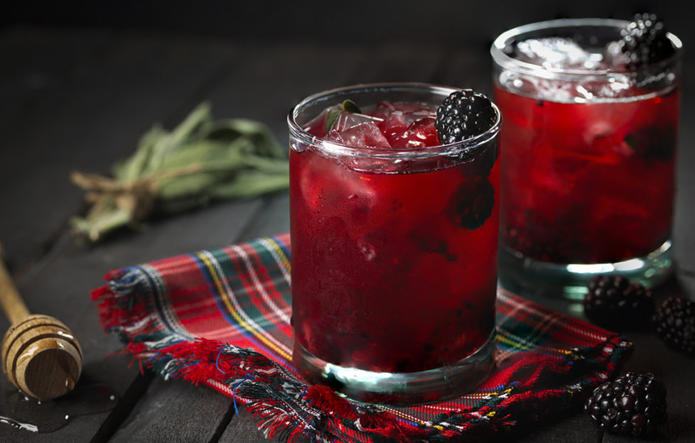 Blackberry and Sage Highland Spring cocktail